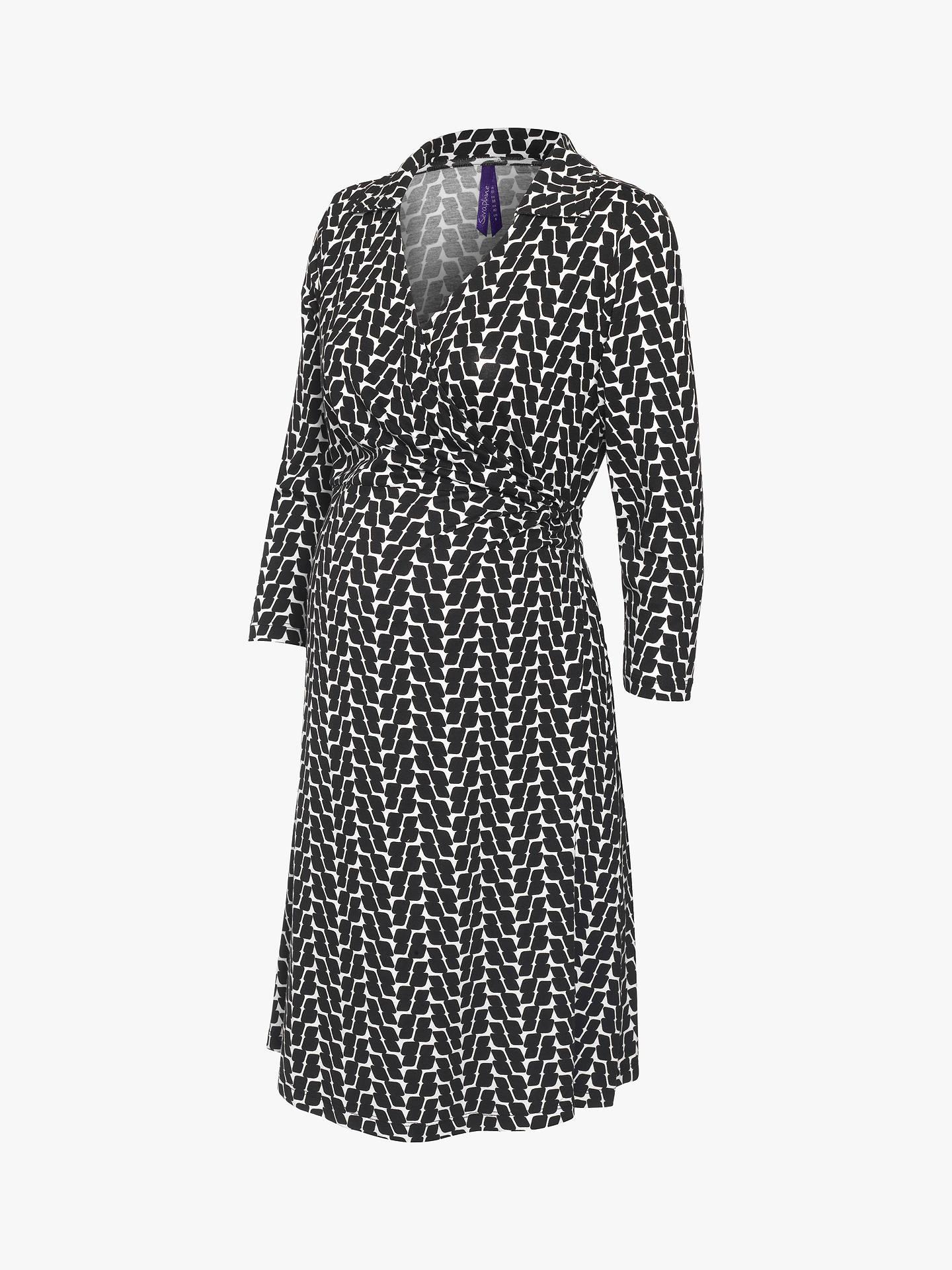 c7bc0890f88f3 Buy Séraphine Georgina Wrap Maternity Nursing Dress, Black/White, 8 Online  at johnlewis ...