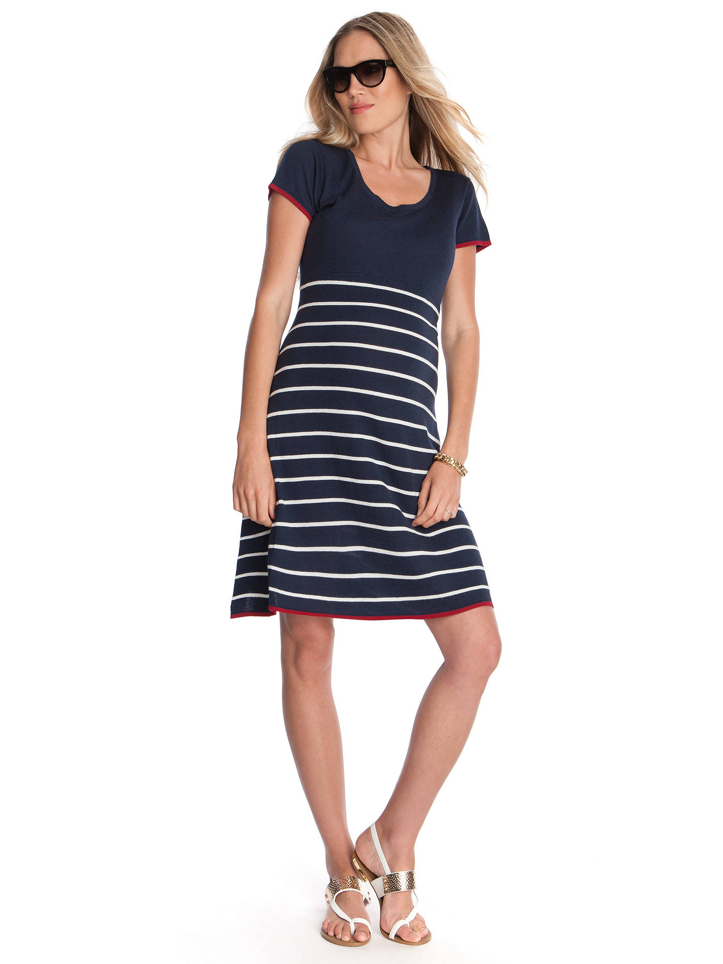 BuySéraphine Hillary Maternity Stripe Dress, Navy/White, 6 Online at johnlewis.com