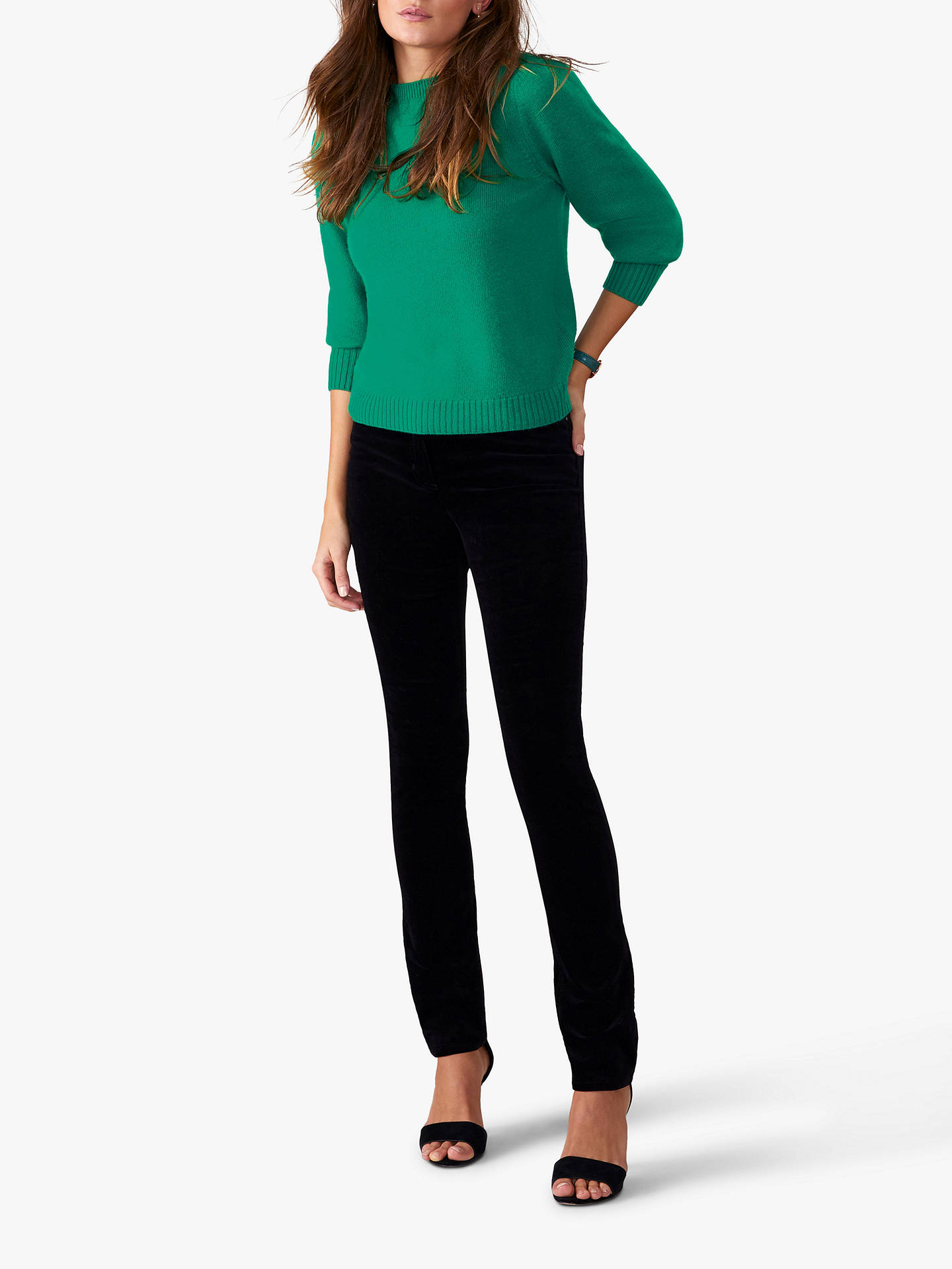Buy Pure Collection Washed Velvet Jeans, Black, 8S Online at johnlewis.com