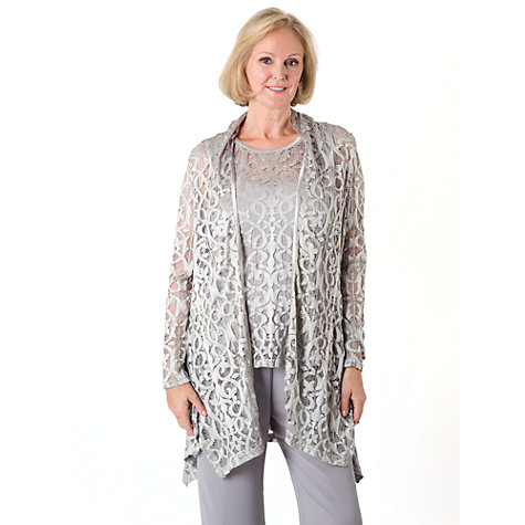 Buy Chesca Stretch Lace Shrug, Silver Grey Online at johnlewis.com
