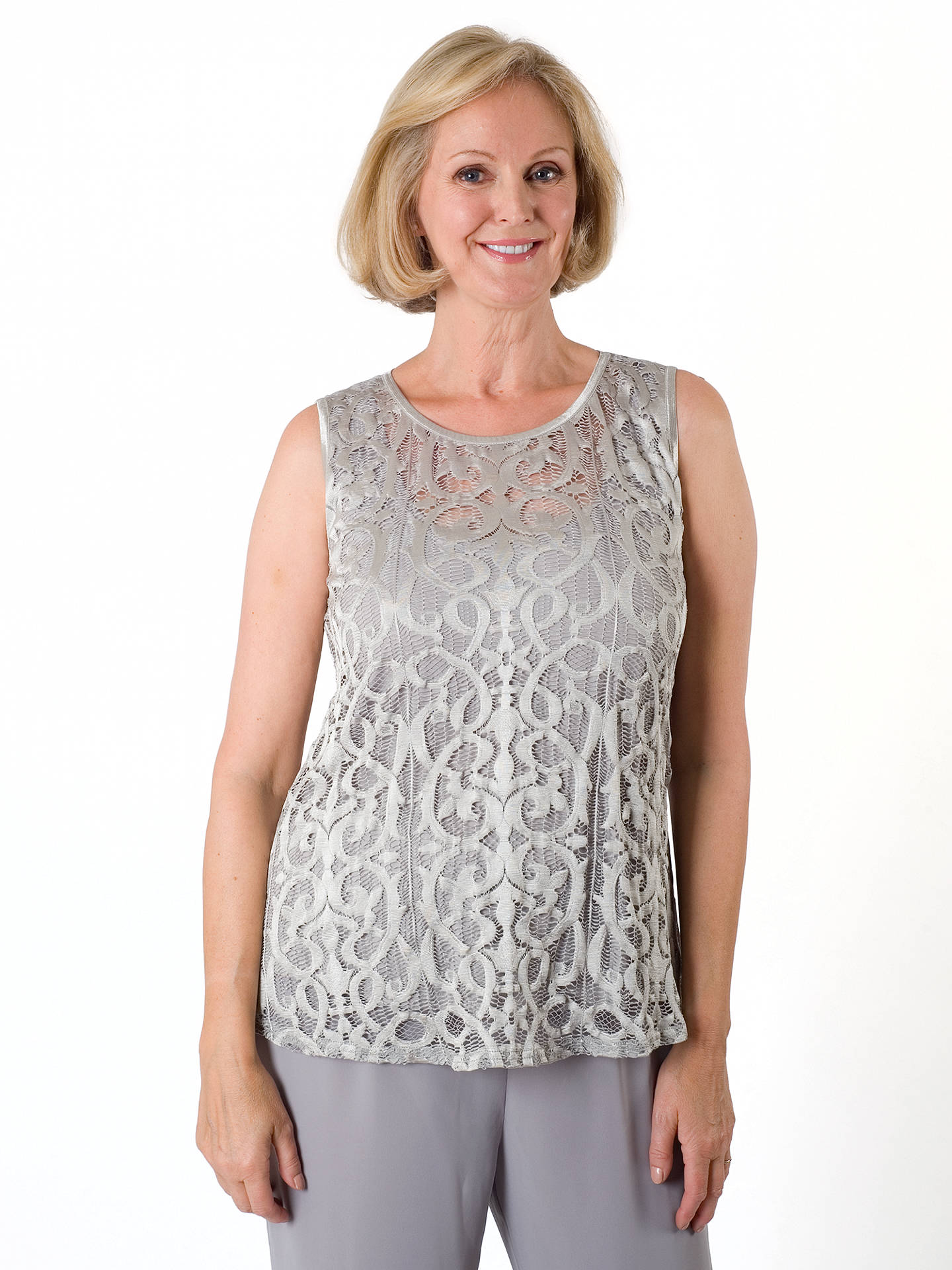 BuyChesca Stretch Lace Cami, Silver Grey, 12-14 Online at johnlewis.com