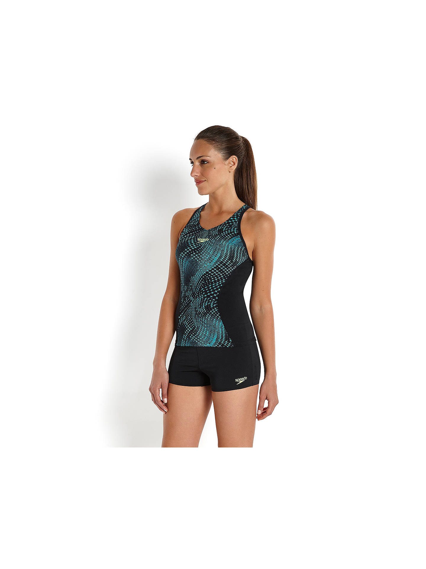 a09c482adb5f2 ... Buy Speedo Monogram All Over Print Boyleg Tankini Swimsuit, Black/Blue,  32 Online ...