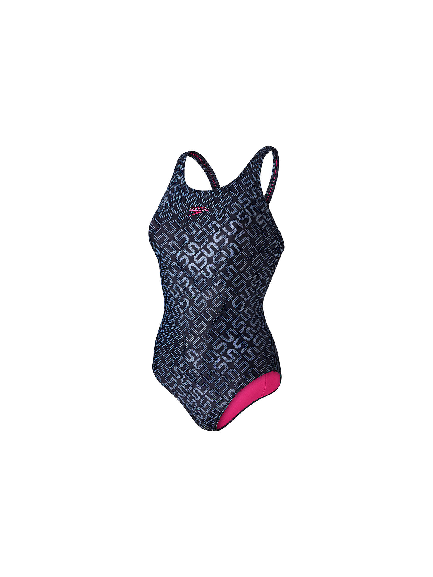 3bda519f99431 Buy Speedo Monogram Allover Muscleback Swimsuit, Black/Grey, 32 Online at  johnlewis.
