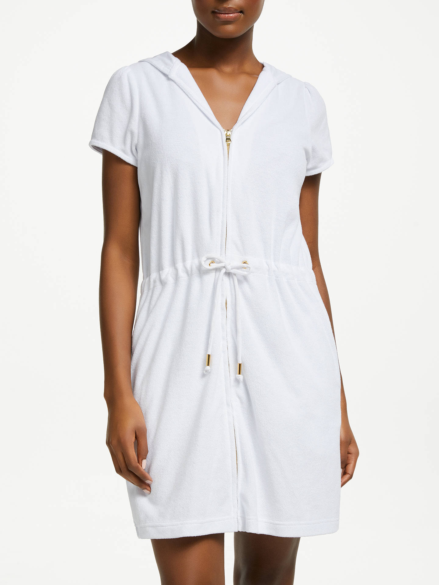 2d32223890026 Buy John Lewis & Partners Zip Towelling Dress, White, S Online at johnlewis.
