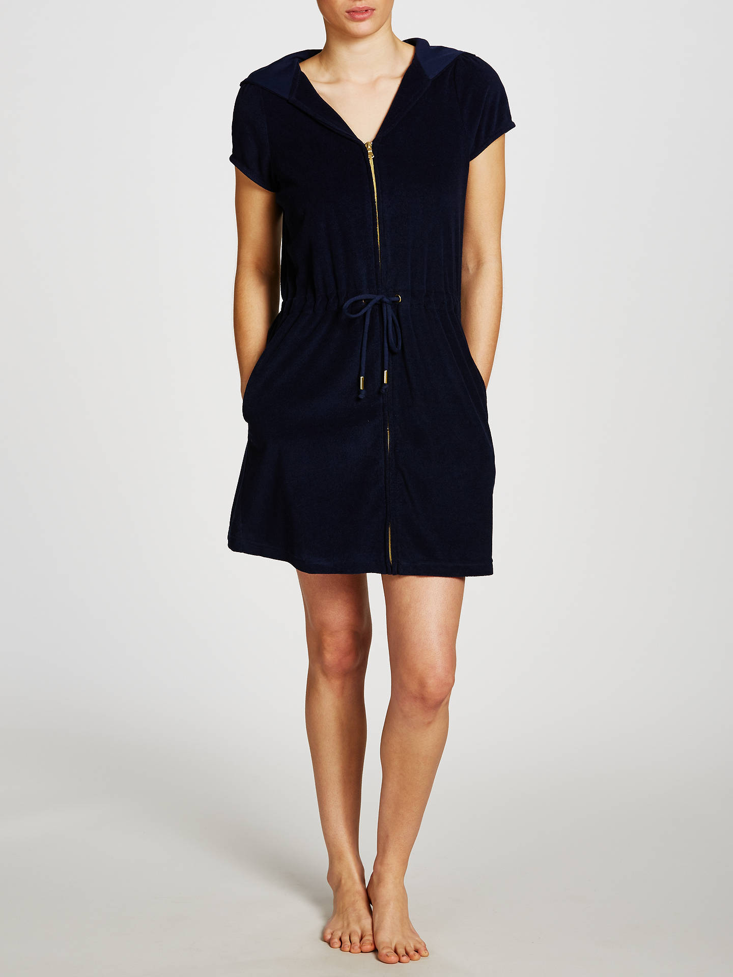 BuyJohn Lewis & Partners Zip Towelling Dress, Navy, S Online at johnlewis.com