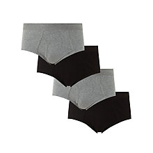 Buy John Lewis Organic Cotton Briefs, Pack of 4, Black/Grey Online at johnlewis.com
