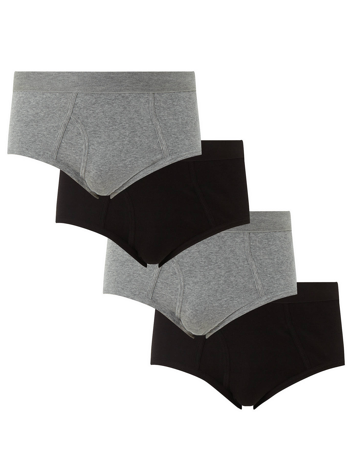 Buy John Lewis & Partners Organic Cotton Briefs, Pack of 4, Black/Grey, S Online at johnlewis.com