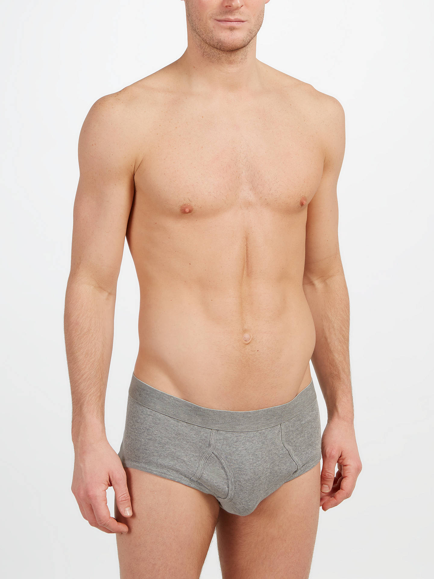 BuyJohn Lewis & Partners Organic Cotton Briefs, Pack of 4, Black/Grey, S Online at johnlewis.com