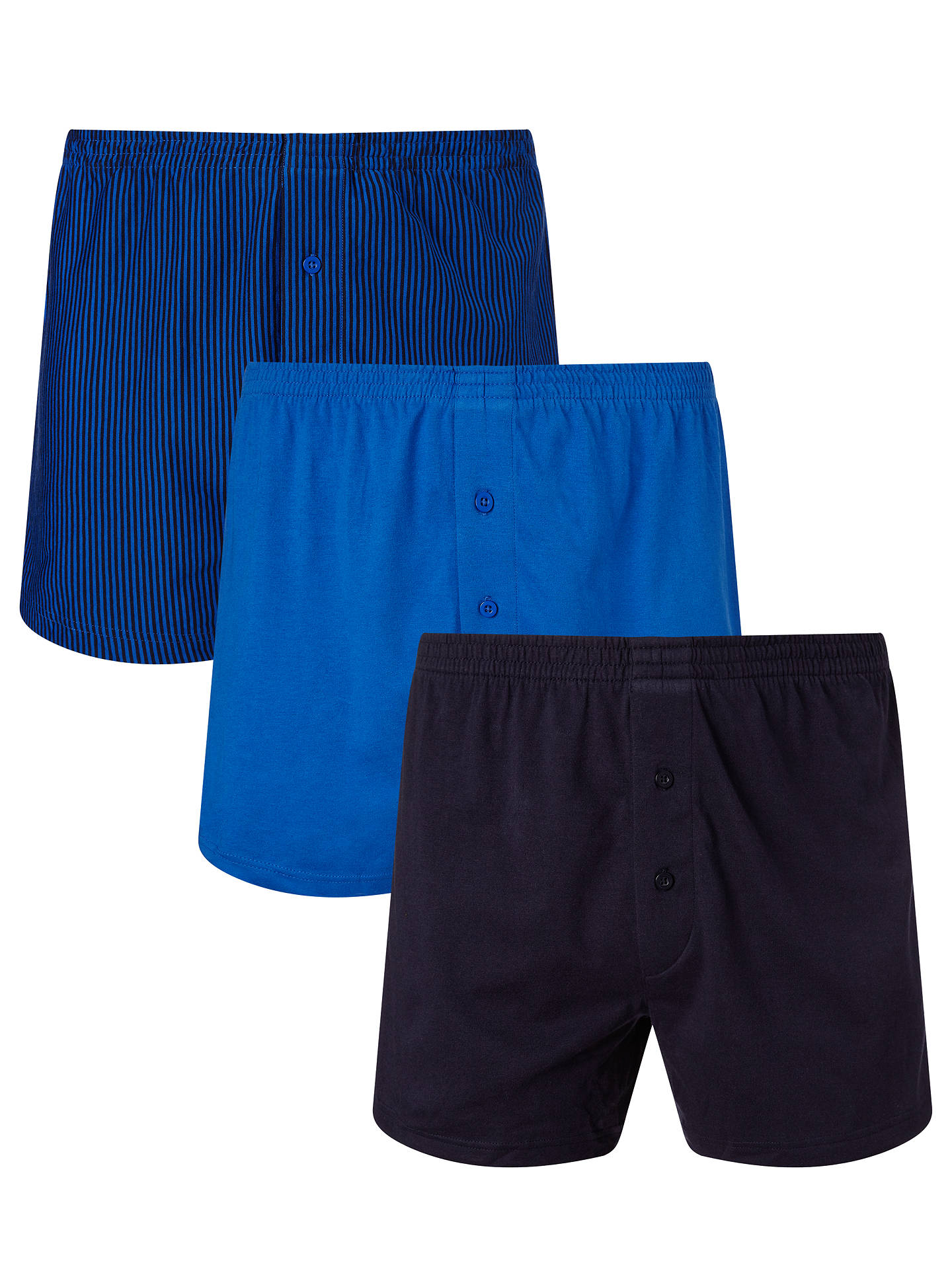 BuyJohn Lewis & Partners Organic Jersey Cotton Double Button Boxers, Pack of 3, Navy, S Online at johnlewis.com