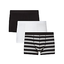 Buy John Lewis Organic Cotton Hipster Trunks, Pack of 3, Black/White Online at johnlewis.com