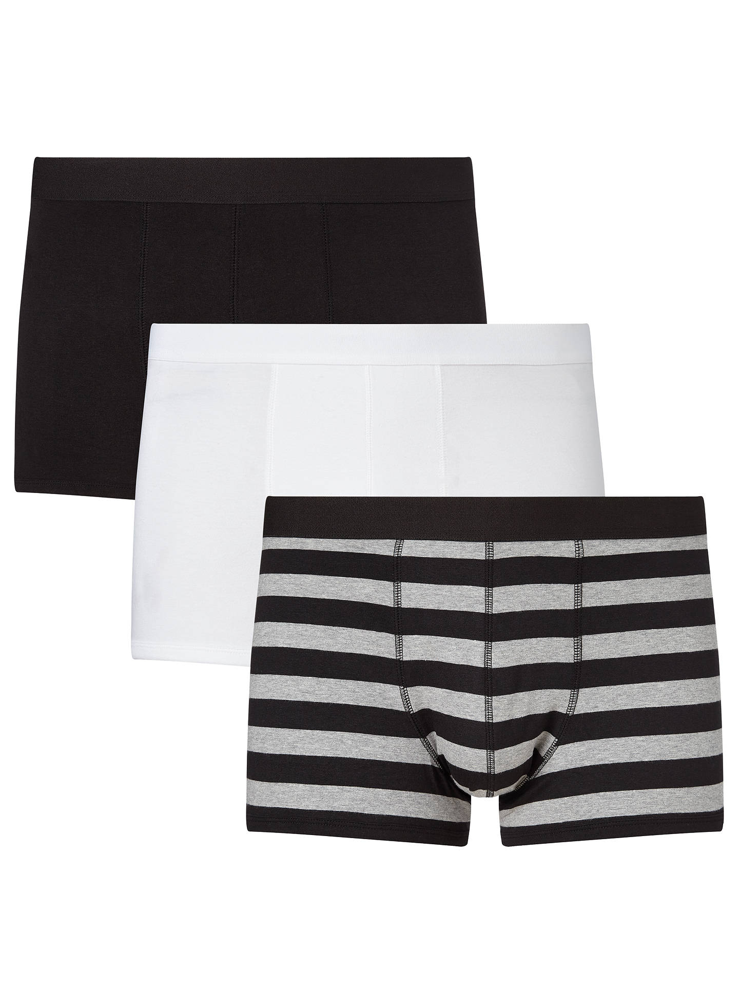 Buy John Lewis & Partners Organic Cotton Hipster Trunks, Pack of 3, Black/White, S Online at johnlewis.com