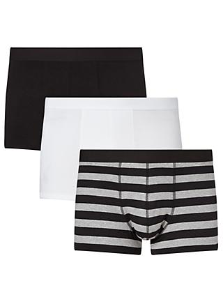 John Lewis & Partners Organic Cotton Hipster Trunks, Pack of 3, Black/White