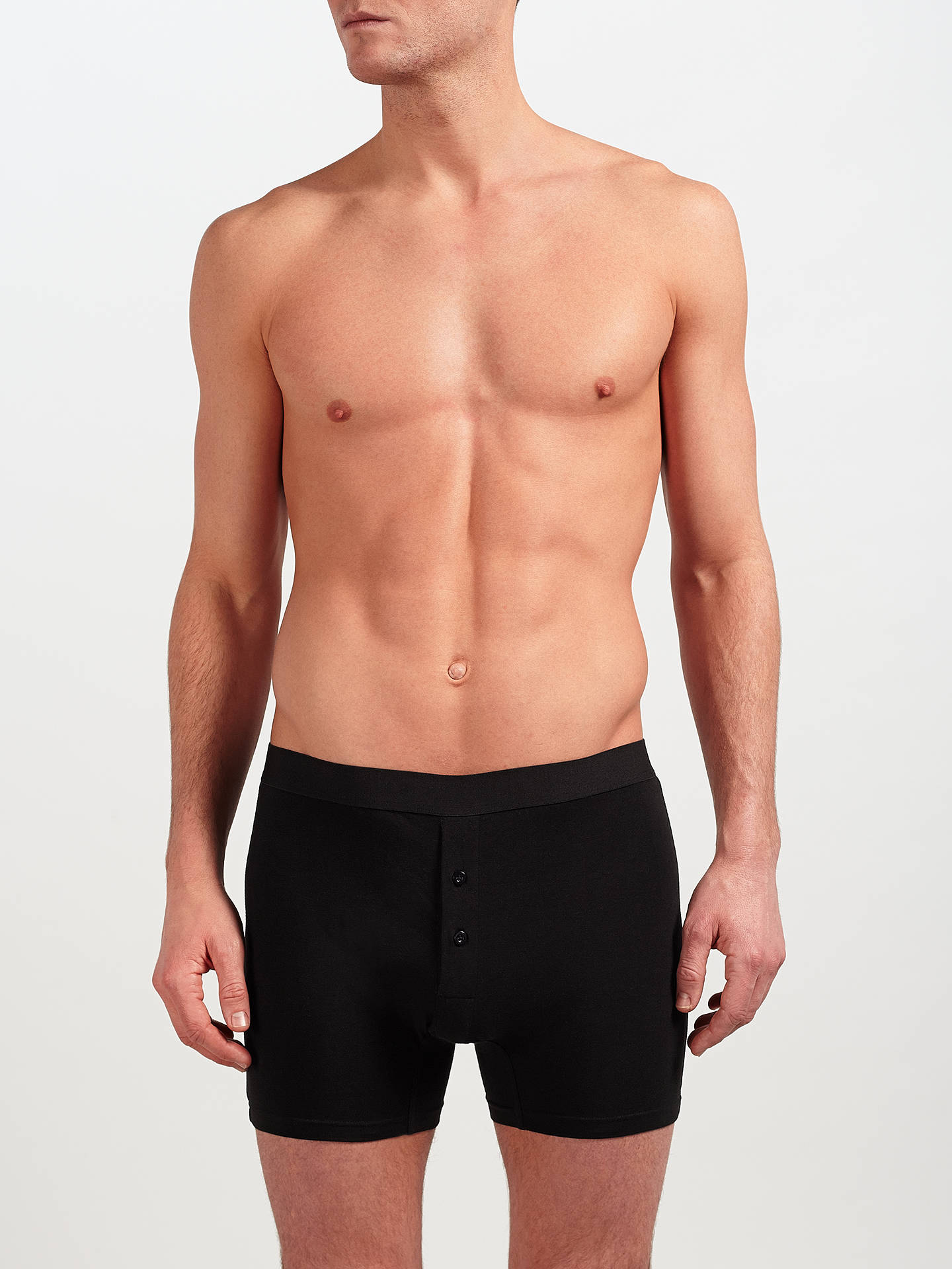 Buy John Lewis & Partners Organic Cotton Button Fly Trunks, Pack of 3, Black/Grey, M Online at johnlewis.com