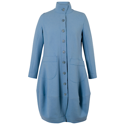 Chesca Barrel Hem Tab Trim Coat, Powder Blue