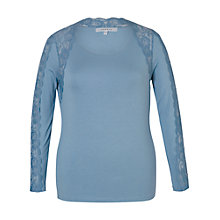 Buy Chesca Lace Trim Long T-Shirt, Powder Blue Online at johnlewis.com