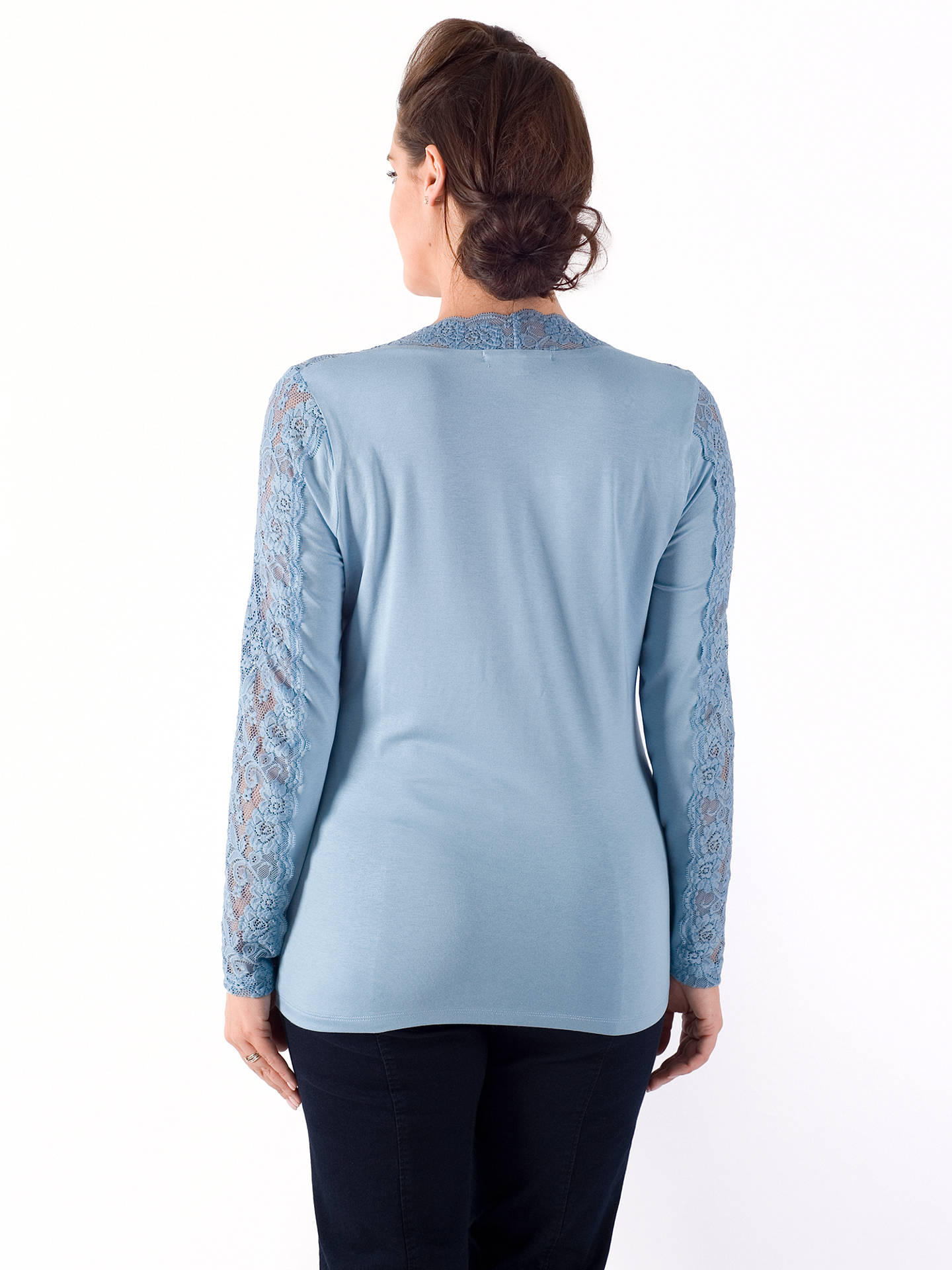 Buy Chesca Lace Trim Long T-Shirt, Powder Blue, 12-14 Online at johnlewis.com