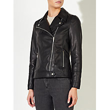Buy John Lewis Betsy Leather Biker Jacket, Black Online at johnlewis.com