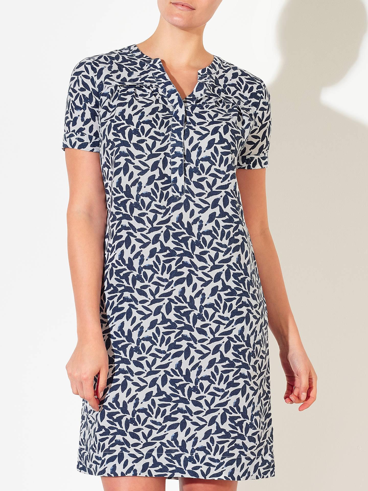 3b6ba0ba02 ... BuyJohn Lewis Linen Notch Leaf Print Dress