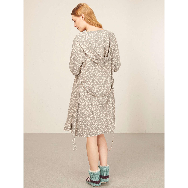 White Stuff Foxy Jacquard Dressing Gown, Fog Grey at John Lewis