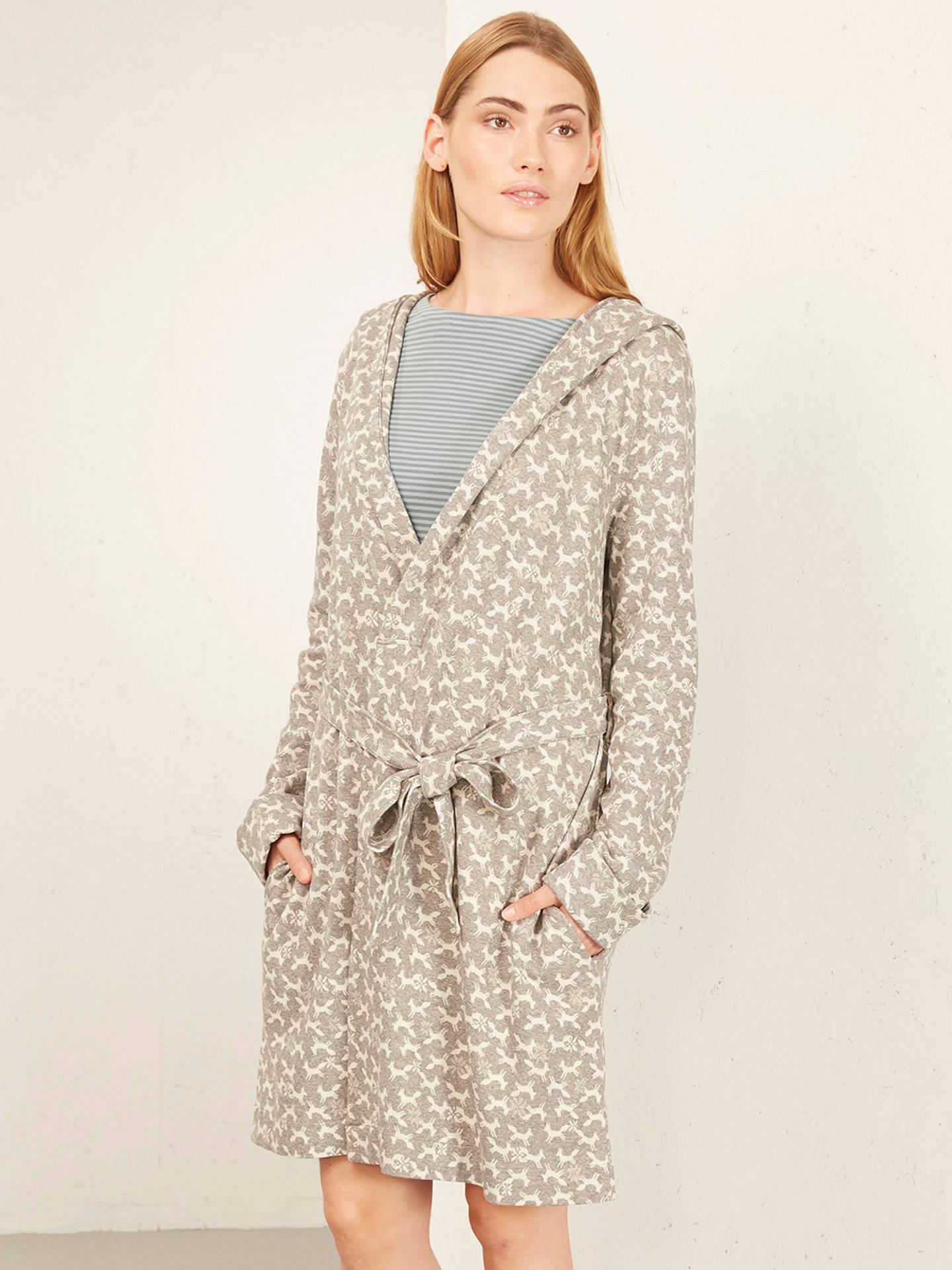 White Stuff Foxy Jacquard Dressing Gown, Fog Grey at John Lewis ...