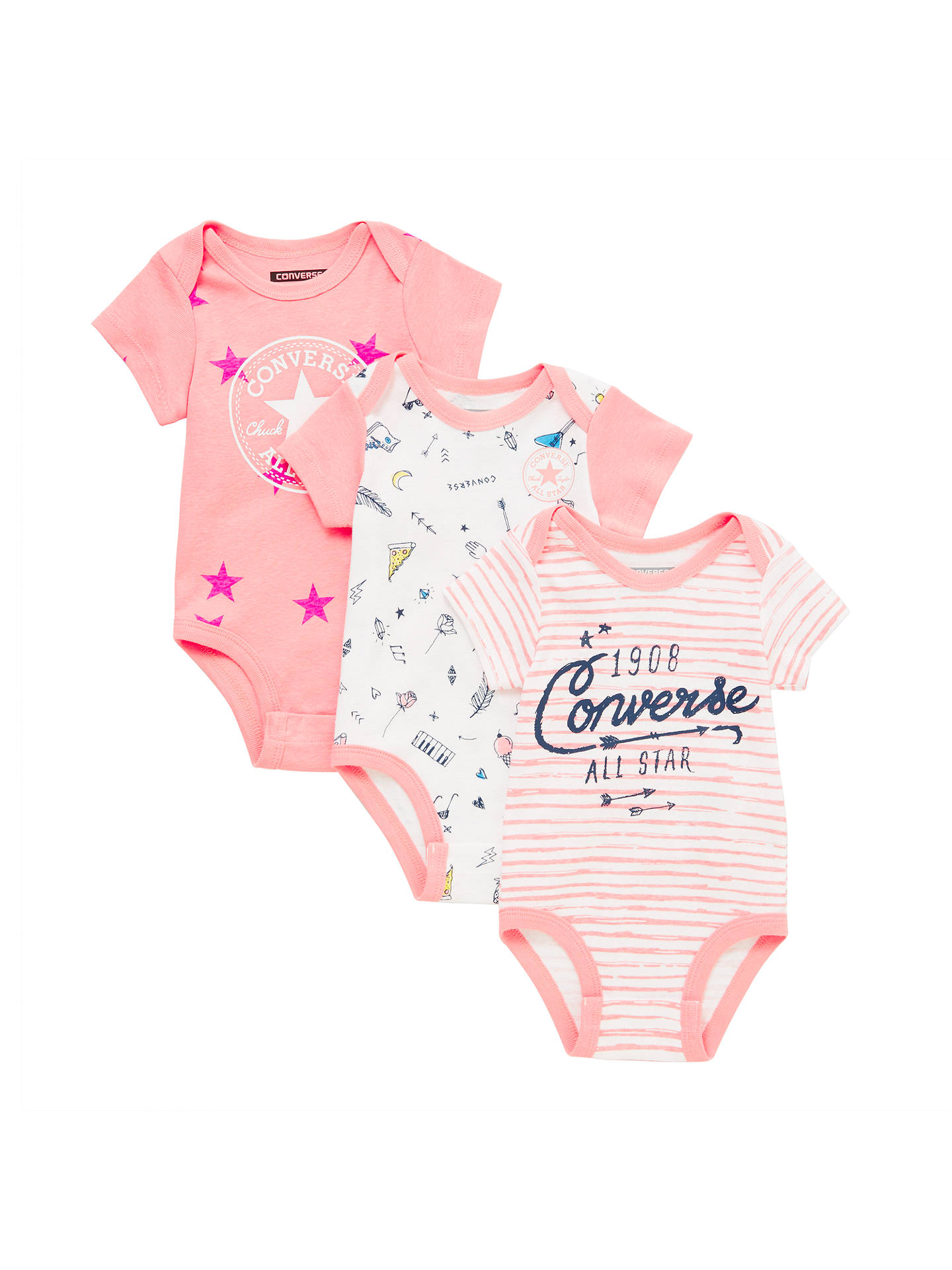57d076963e099 Converse Baby Bodysuit Set, Pack of 3, Pink at John Lewis & Partners