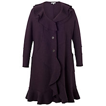 Buy Chesca Wool Flounce Trim Coat, Aubergine Online at johnlewis.com