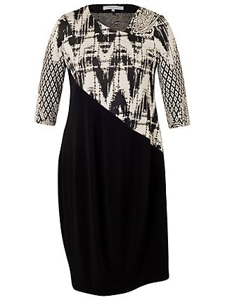 Chesca Paisley Jacquard Dress, Black/Ivory