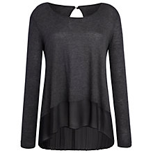 Buy Celuu Isobella Jumper With Pleated Chiffon Back, Charcoal Online at johnlewis.com