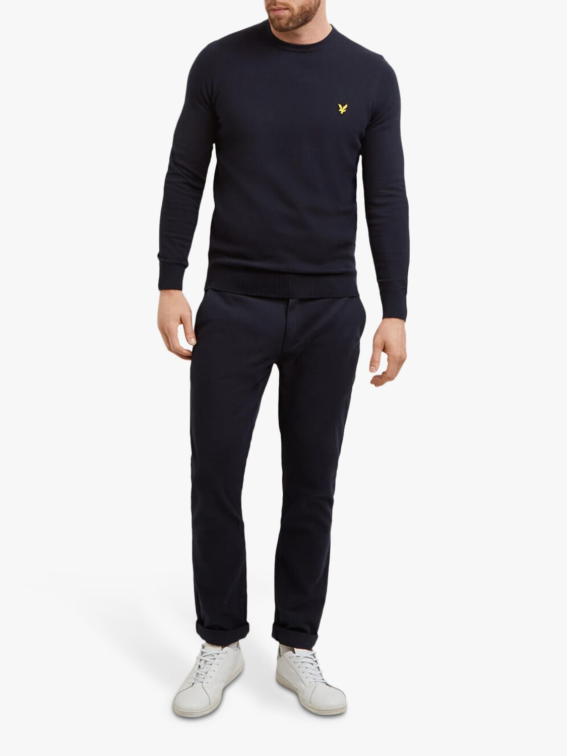 Lyle & Scott Lyle & Scott Crew Neck Cotton Merino Jumper, Navy