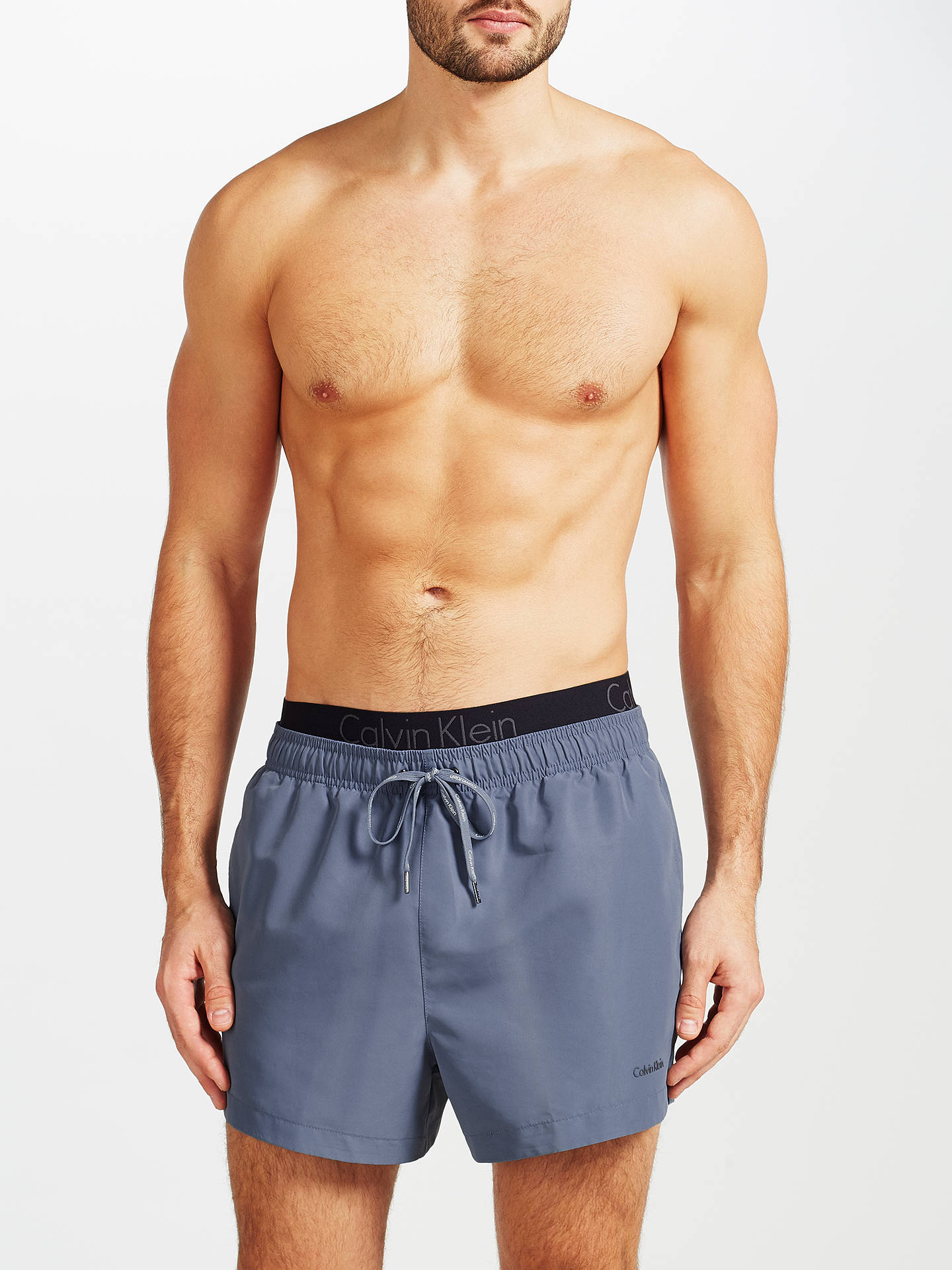4156bde69b ... Buy Calvin Klein Double Waistband Swim Shorts, Grey, L Online at  johnlewis.com ...