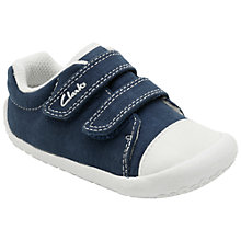 Buy Clarks Children's Little Canvas Rip-Tape Shoes, Navy Online at johnlewis.com
