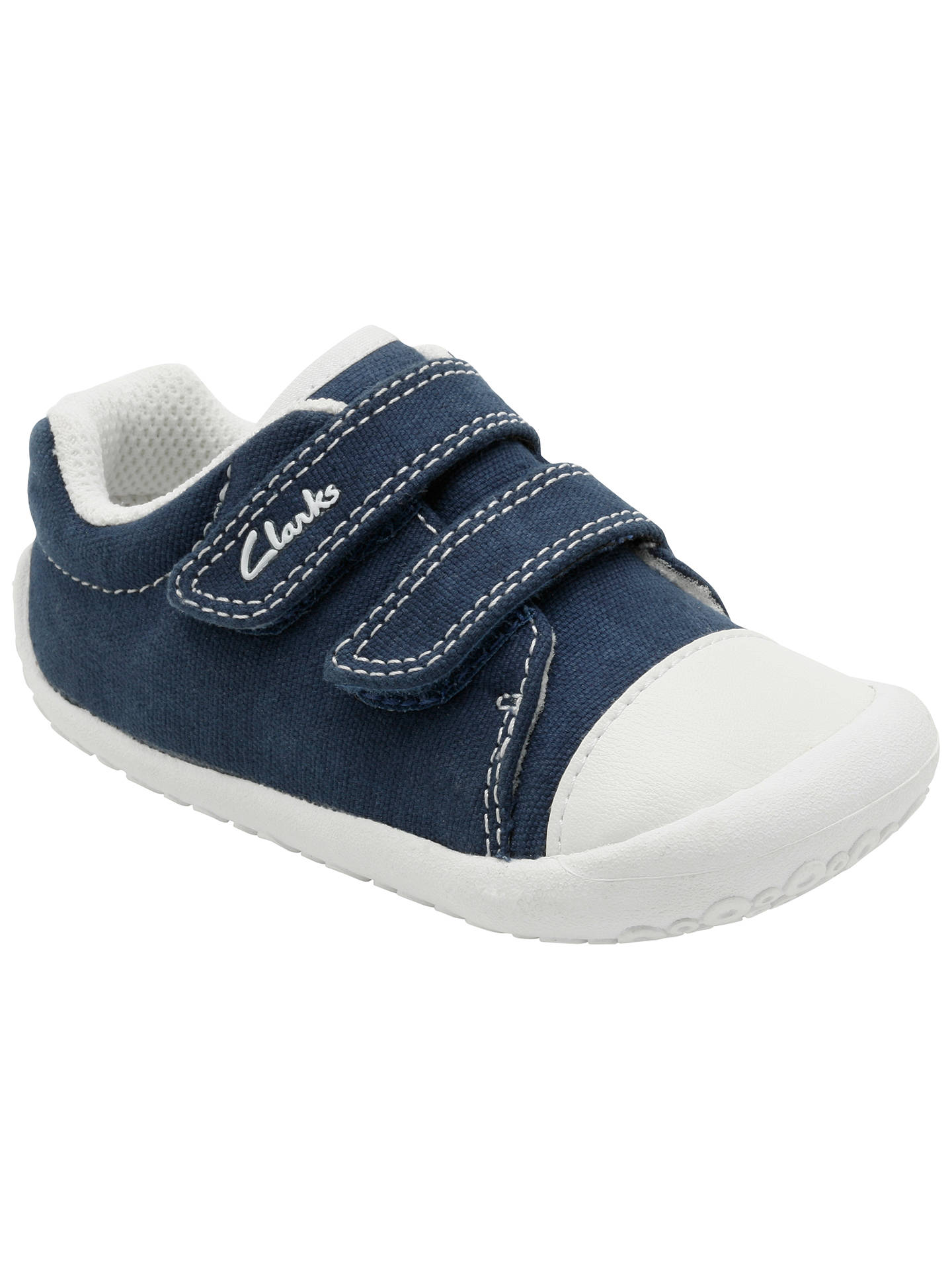 e7392f56a425d Buy Clarks Children's Little Canvas Rip-Tape Shoes, Navy, 2F Jnr Online at  ...