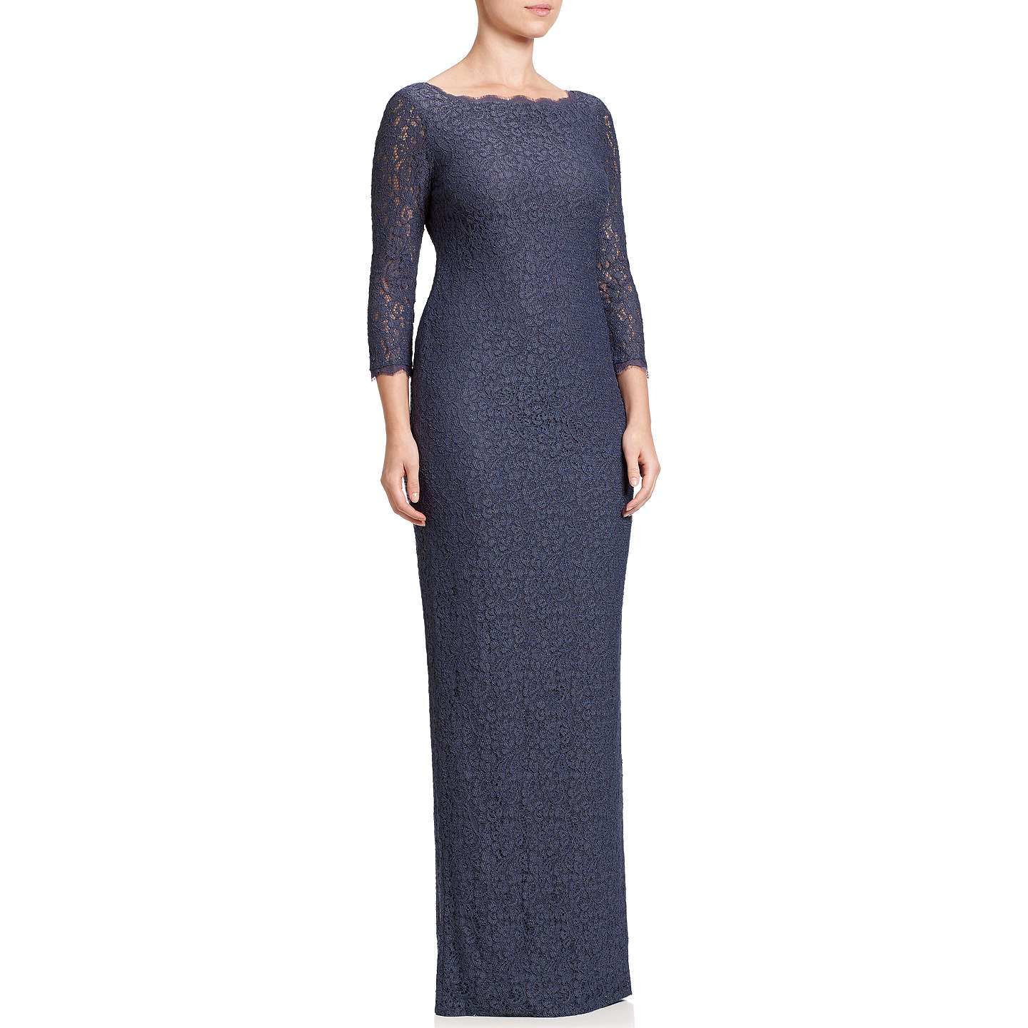 Adrianna Papell Long Sleeve Lace Gown at John Lewis