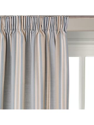 f493abcd85fb John Lewis & Partners Alban Stripe Pair Blackout Lined Pencil Pleat Curtains,  Duck Egg