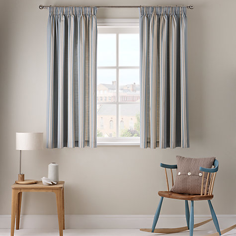 Buy John Lewis Alban Stripe Blackout Lined Pencil Pleat Curtains - John lewis curtains grey