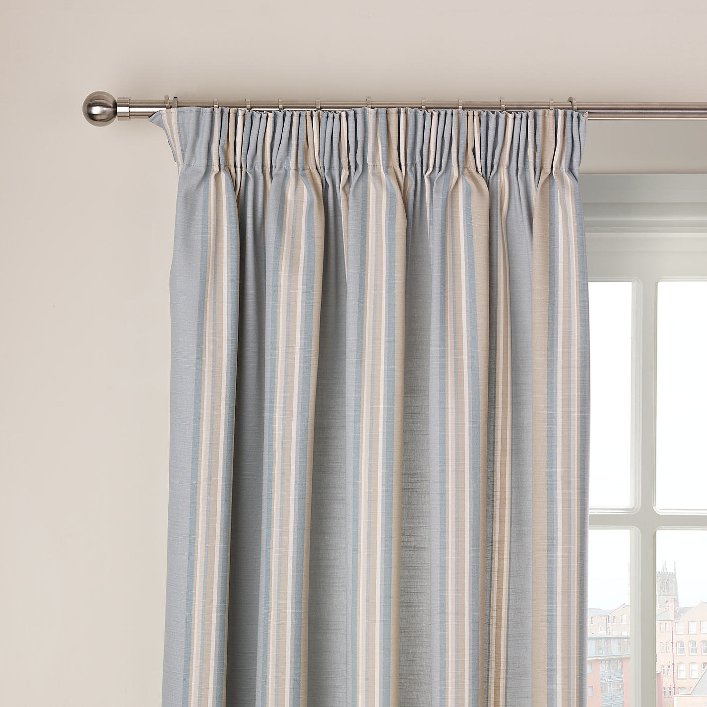 Duck Egg Blue Stripe Pencil Pleat Curtains | www.redglobalmx.org for Pencil Pleat Curtains On Track  103wja