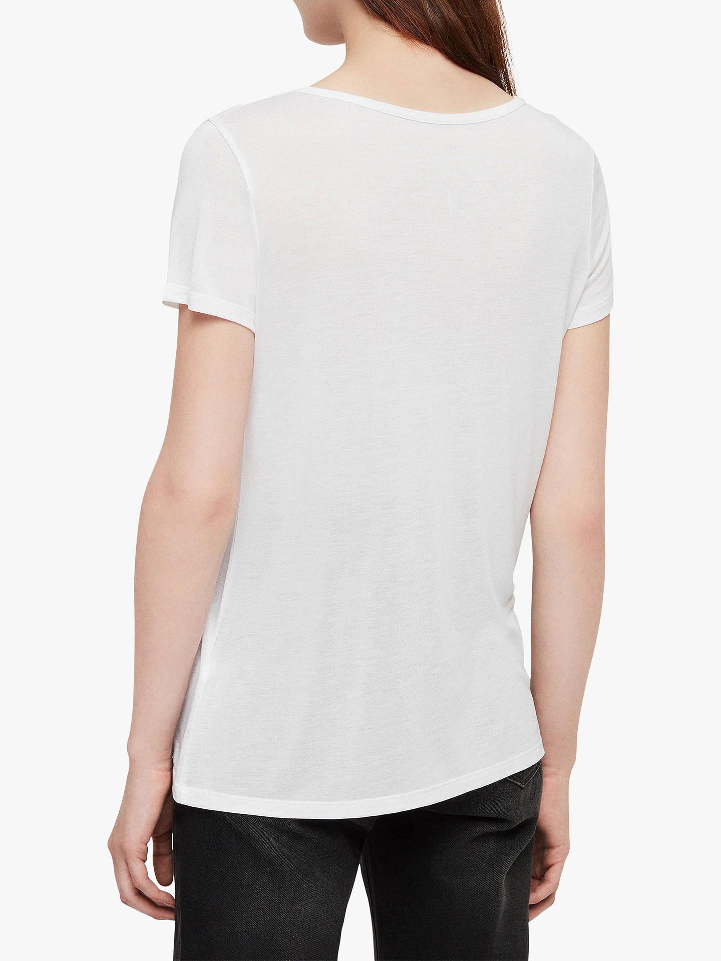 28a19393 Buy AllSaints Malin Silk Blend T-Shirt, Optic, XS Online at johnlewis.