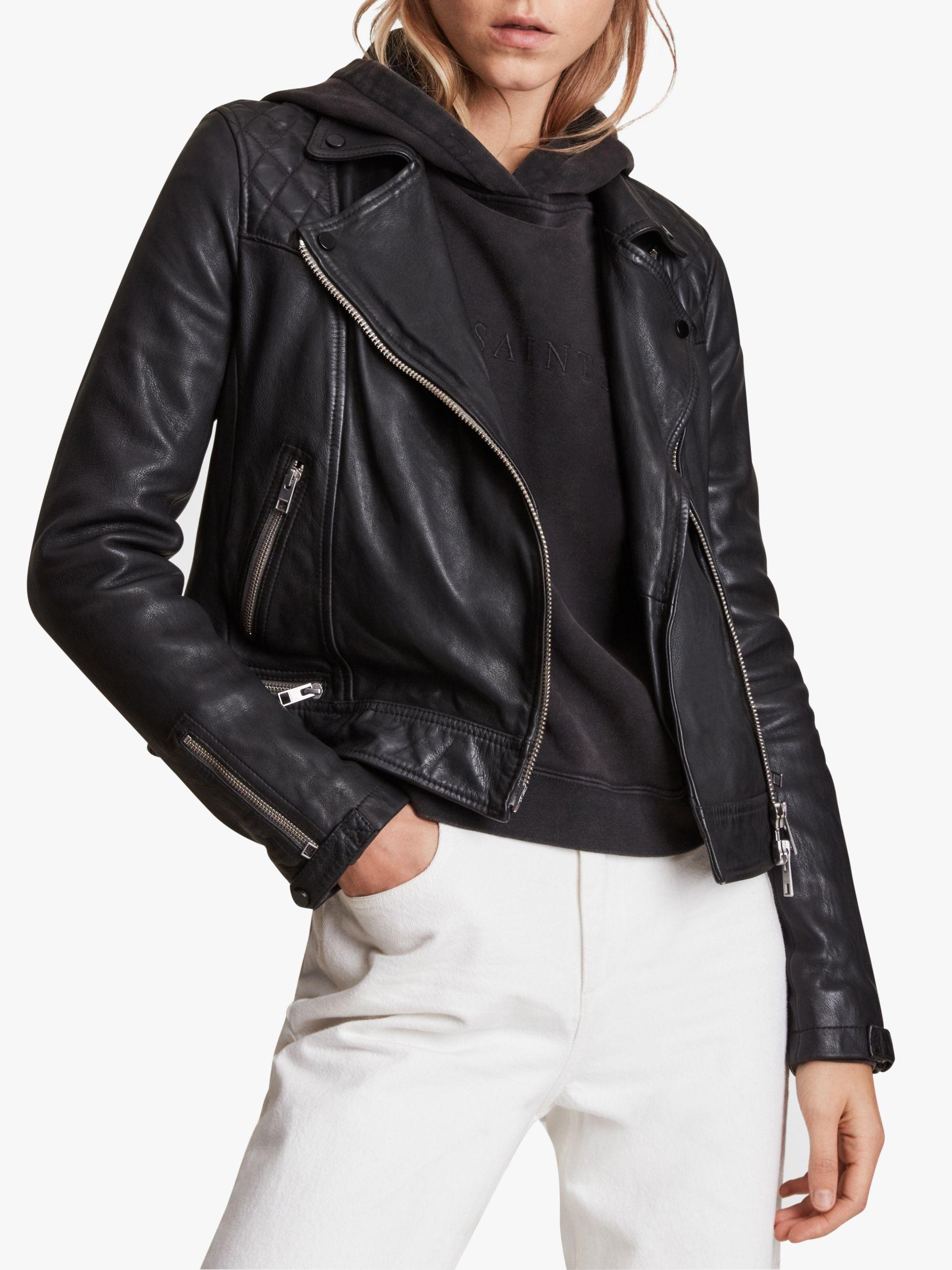 AllSaints AllSaints Conroy Leather Biker Jacket, Ink