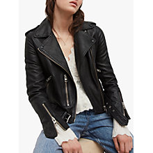 Buy AllSaints Leather Balfern Biker Jacket, Black Online at johnlewis.com