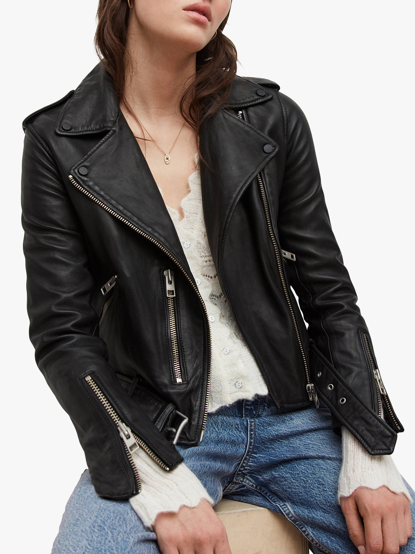 BuyAllSaints Leather Balfern Biker Jacket, Black, 6 Online at johnlewis.com