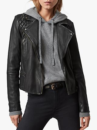 AllSaints Leather Cargo Biker Jacket, Black/Grey