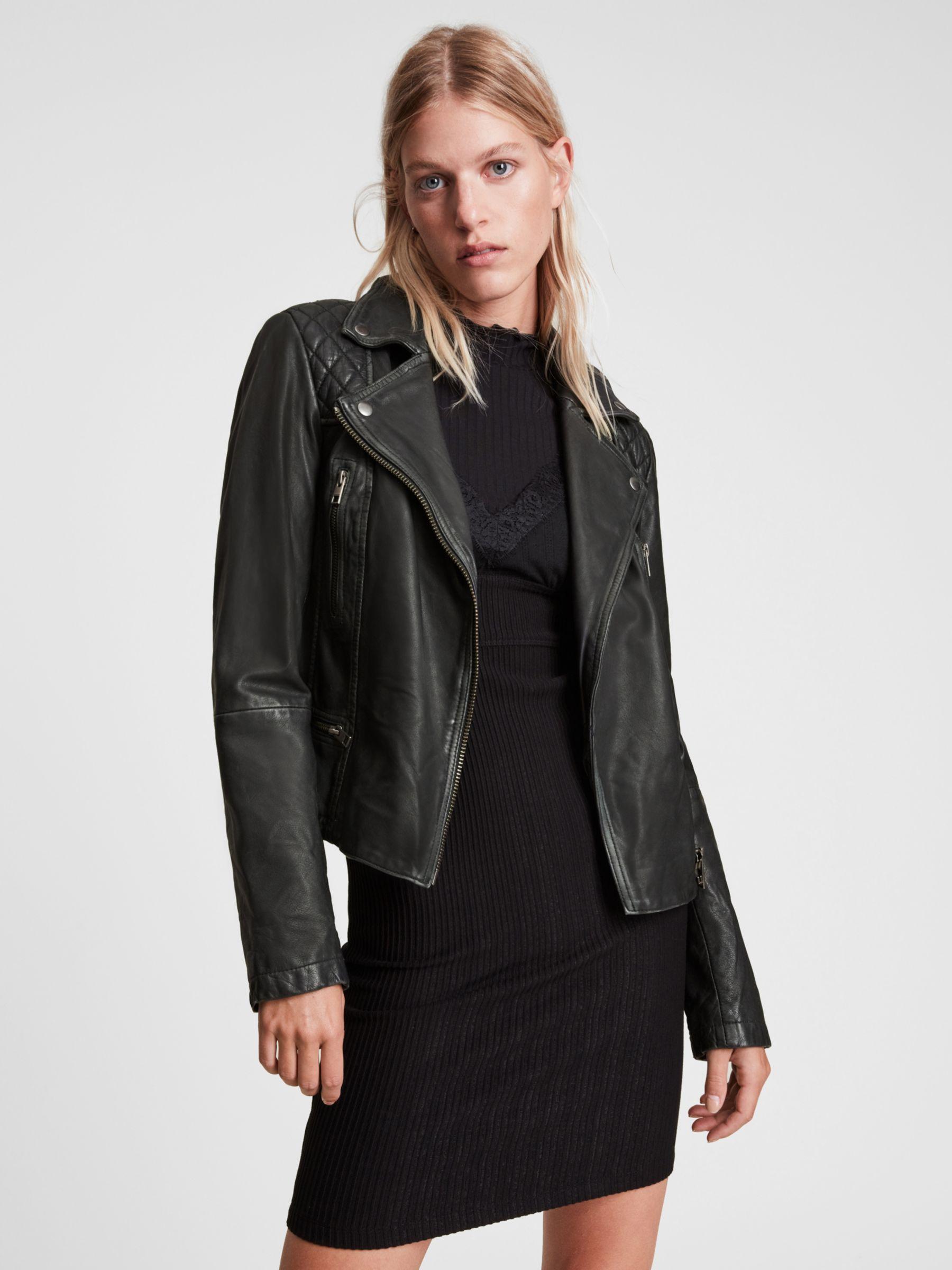 AllSaints AllSaints Leather Cargo Biker Jacket, Black/Grey