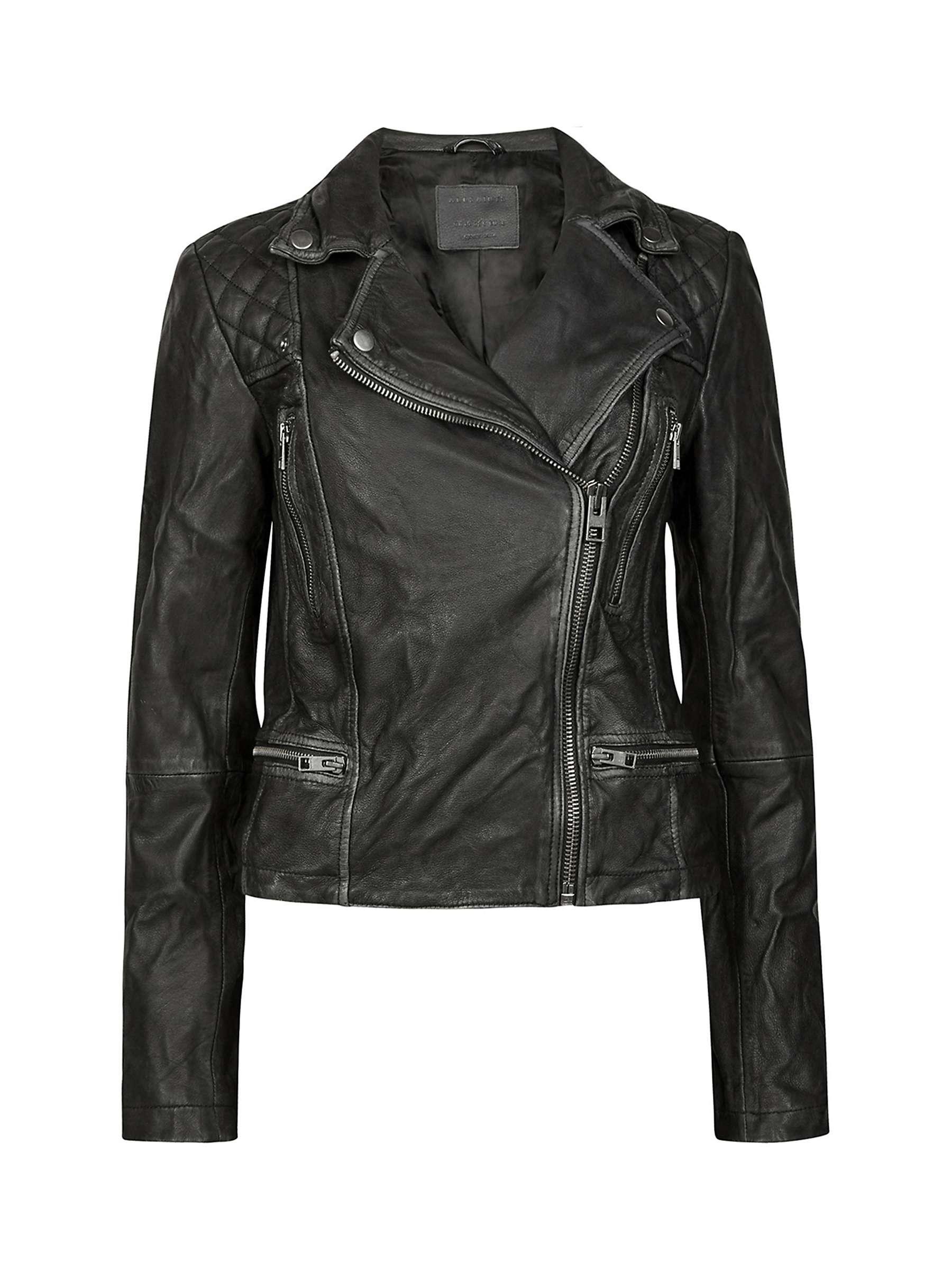 AllSaints Leather Cargo Biker Jacket, BlackGrey