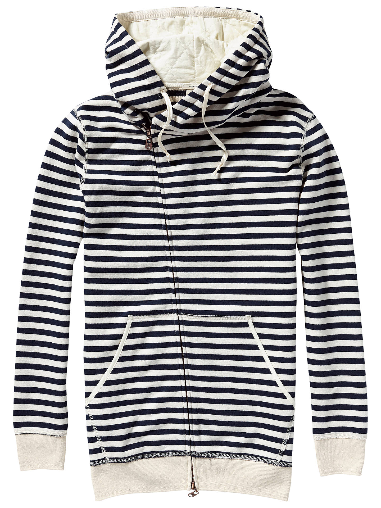Buy Maison Scotch Home Alone Twisted Hoodie, Navy/Ecru, S Online at johnlewis.com