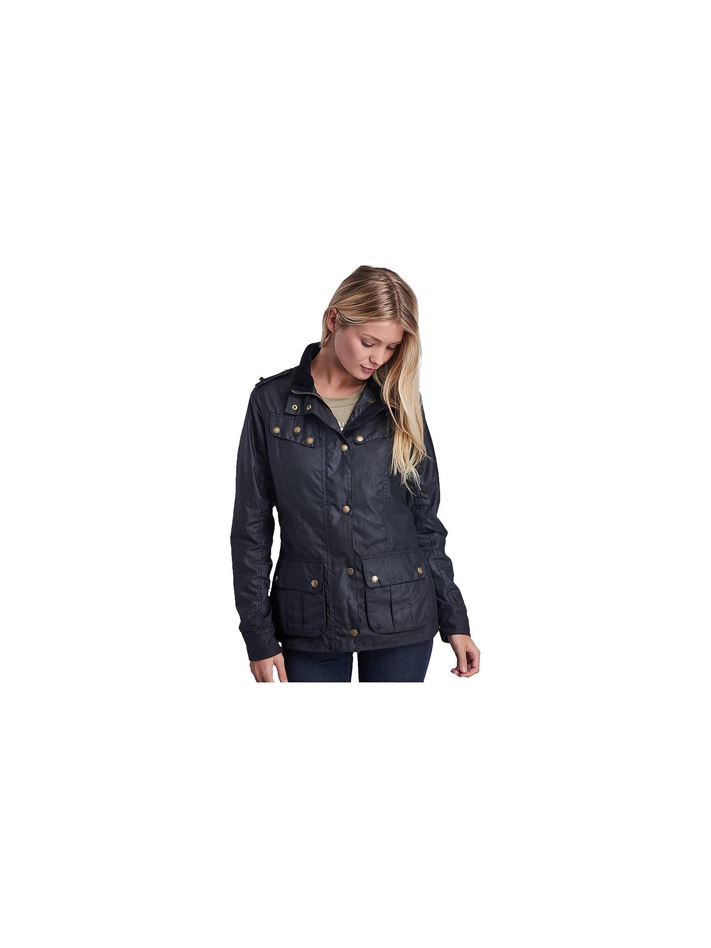 efc37153e02e7 Buy Barbour International Hairpin Waxed Jacket, Black, 10 Online at  johnlewis.com ...