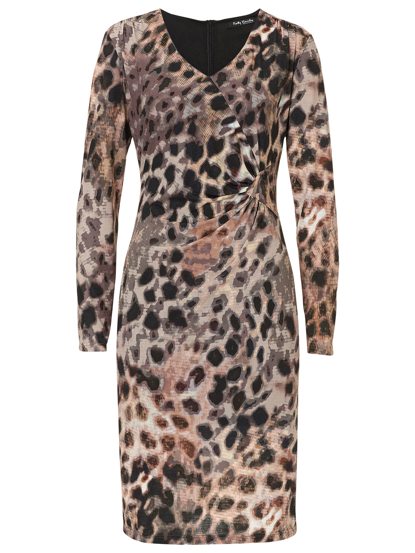 Betty Barclay Animal Print V Neck Dress, Taupe/Apricot at John Lewis ...
