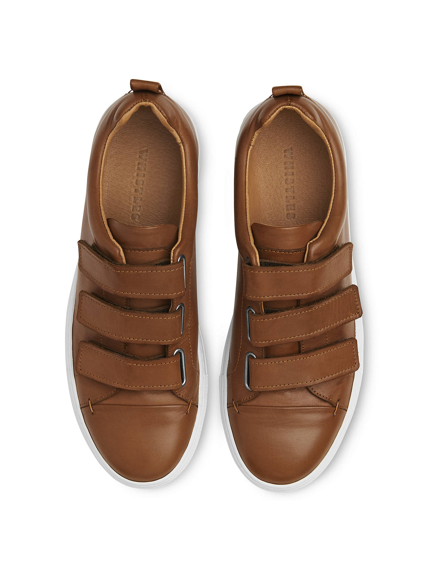 Buy Whistles Aith Flat Rip Tape Trainers, Tan Leather, 3 Online at johnlewis.com