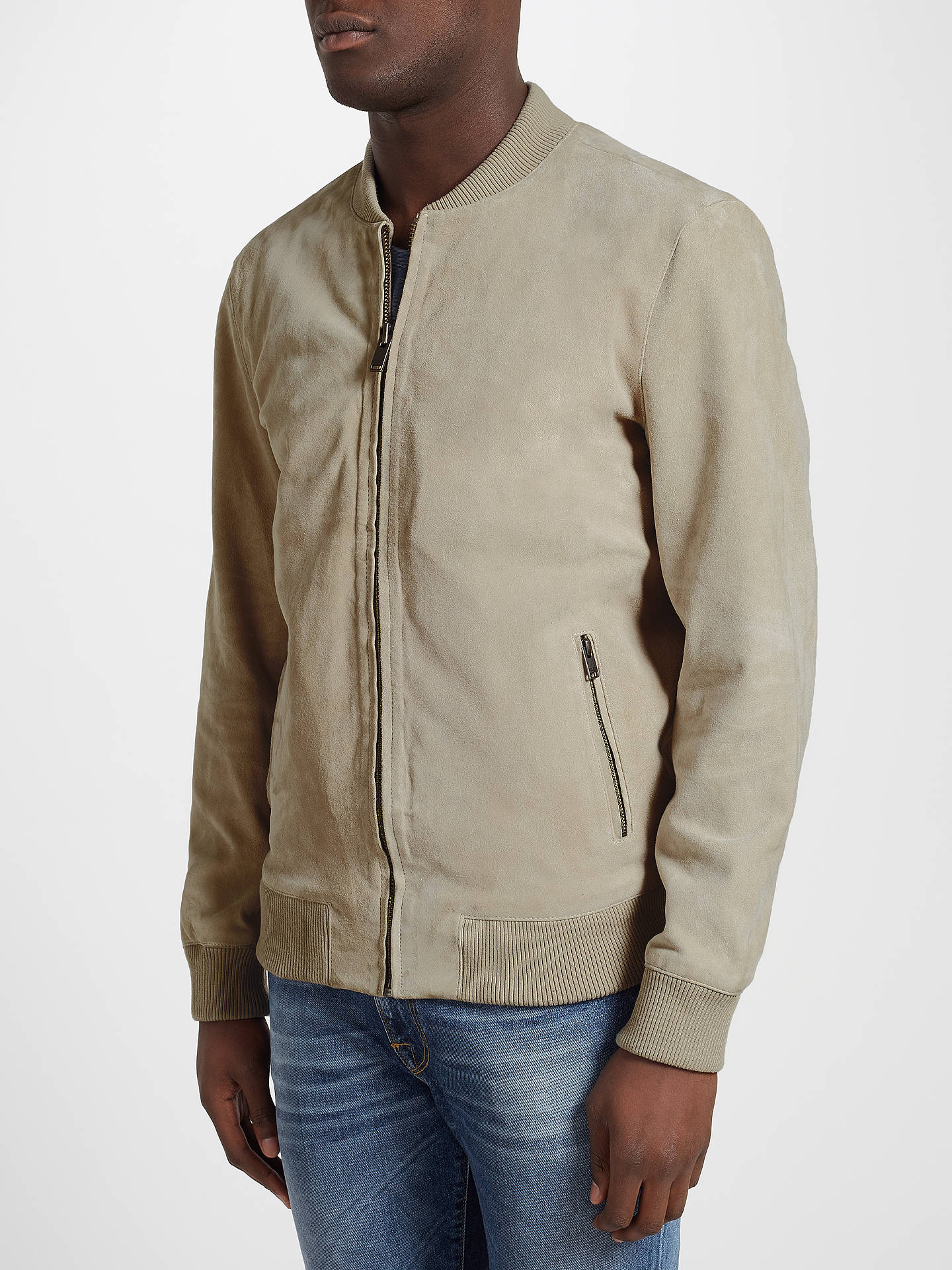 BuySelected Homme Nean Suede Bomber Jacket, Abbey Stone, XL Online at johnlewis.com
