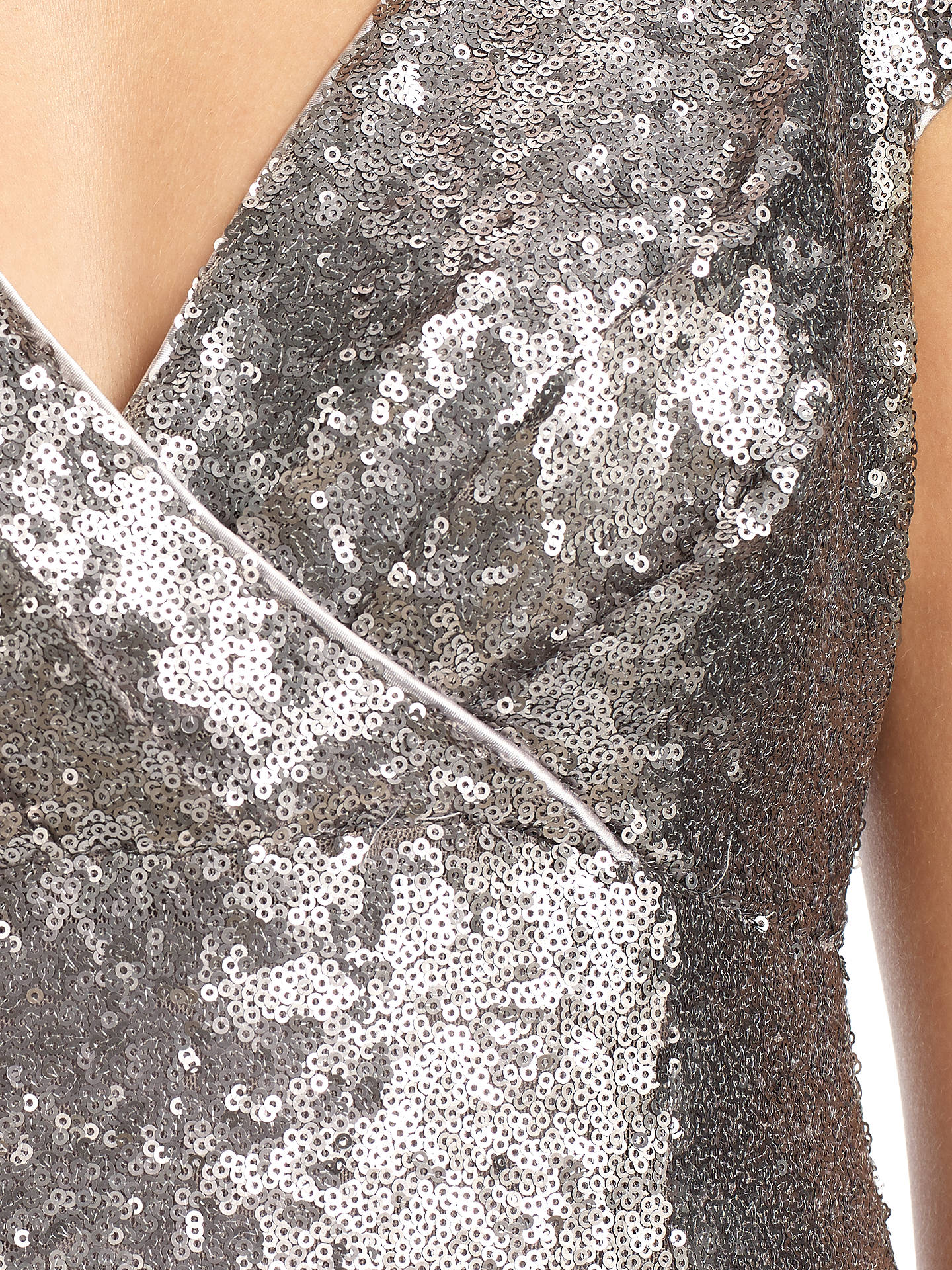 Buy Ariella Venetia Long Sequin Dress, Silver, 6 Online at johnlewis.com