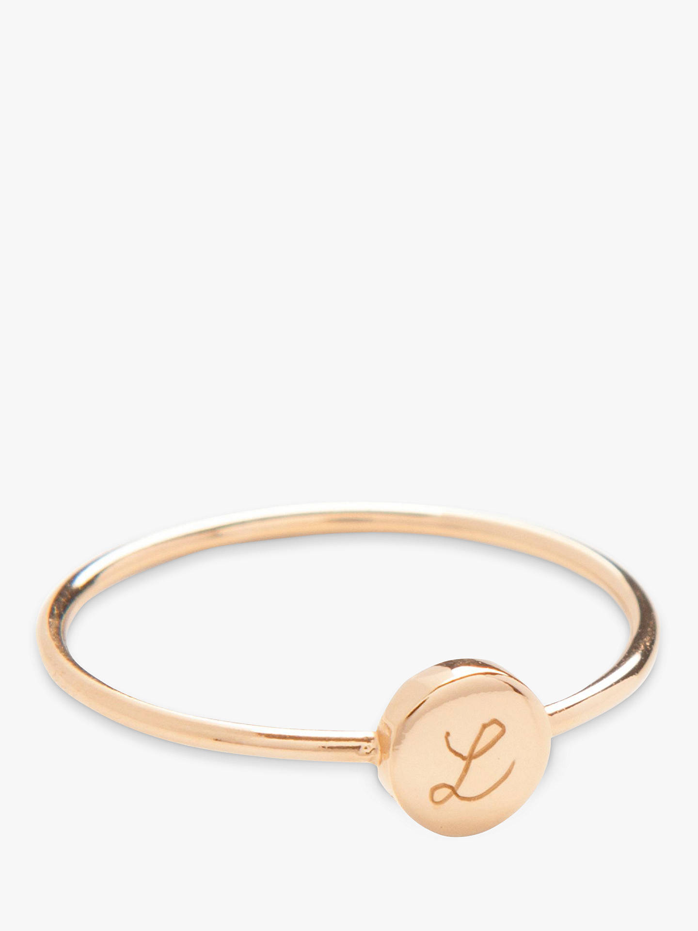 BuyMerci Maman Personalised Initial Disc Ring, Gold, L Online at johnlewis.com